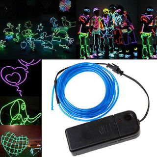 Neon Light Glow EL Wire Rope Tube Car Dance Party + Controller