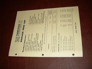 TIMBERJACK PRICE SHEET 1969 PULPJACK GRAPPLE SKIDDER BROCHURE ORIGINAL