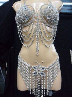 Da NeeNa J060 Party Showgirl Vegas Drag Rhinestone Crystal Bra Belt