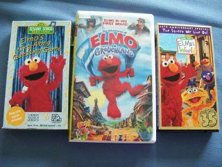 Elmo Sesame Street VHS Grouchland/Sing Along/Elmos World 35th Annivers