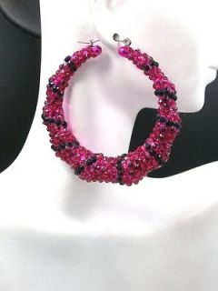 New Bamboo Door Knocker Rhinestone Hoop Earrings Magenta/Black