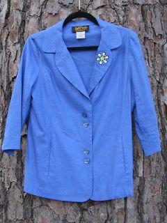 Bob Mackie wearable art blazer jacket in royal blue linen blend ladies