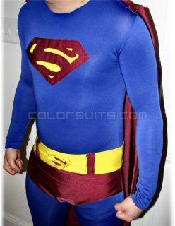 Elite Series Superman Costume   Lycra Zentai Full Body   Suit Belt