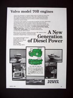 Volvo Penta Model 70B Diesel Marine Boat Engines 1973 print Ad