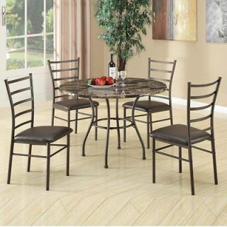 Piece Casual Brown Dining Set w/ Faux Marble Top Round Table 4 Chairs