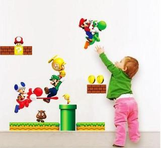 Super Mario Bros PVC Removable Wall Sticker Home Decor For Kids Room
