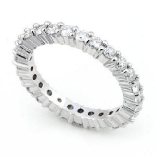 Ring Band Natural 1.01 Ctw Round Cut Diamond 14Kt White Gold