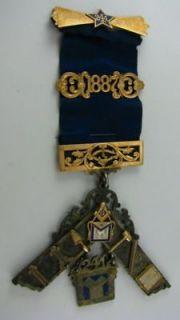 PAST MASTER MASON   14k GOLD & Silver Large Medal JEWEL