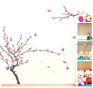 Pink Peach Flower Bloom Wall Sticker Paper Decor Decals Removable Art