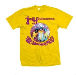 Retro Jimi Hendrix Experienced T Shirt Bright Yellow Psychedelic Image
