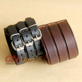 New 2 Layer Belt Men Genuine Cow Leather Bracelet 3 Buckle Wristband