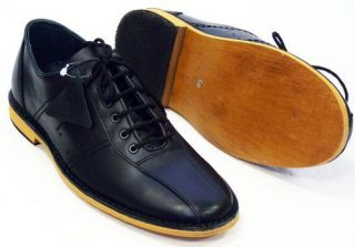 NEW MOD RETRO NORTHERN SOUL MENS BOWLING SHOES Black Leather WATTS 50s