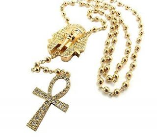 OUT TYGAS PHARAOH & ANKH CROSS PENDANT W/ 36 INCH BEAD CHAIN NECKLACE