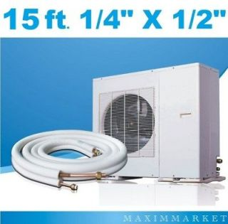 15 Feet Mini Split A/C Connection Line Set 1/4 X 1/2 9000Btu up to