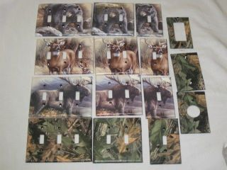 Realtree Camo/Bear/Deer/Moose Light Switch Plate Cover Hunting Lodge