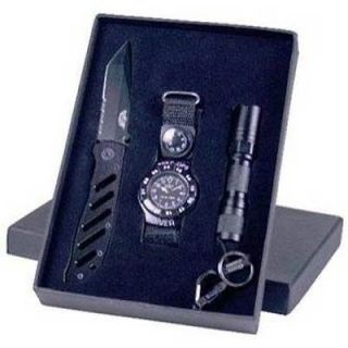 Uzi Special Forces Gift Set Knife   Watch   Flashlight