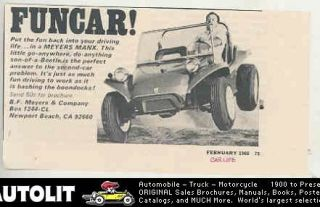 1968 Meyers Manx VW Kit Car Dune Buggy Ad