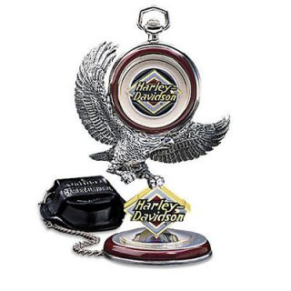 Franklin Mint: Harley Davidson Electra Glide Pocket Watch with Stand