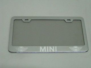 MINI COOPER* chrome metal license plate frame +screw caps (Fits More