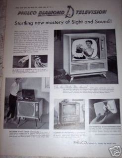 1956 PHILCO TV Big Screen Television w/ Phonograph ad