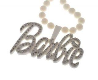 Pink Friday Nicki Minaj Inspired White Barbie Stone Pendant Necklace