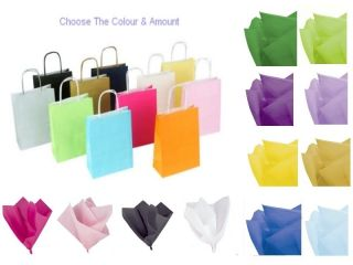 PARTY GIFT BAGS X 10   WITH TISSUE PAPER   BIRTHDAY/WEDDINGS