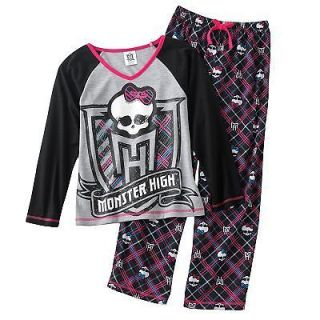 MONSTER HIGH DOLL SKULL CREST 2 piece PAJAMAS SIZE L 10/12