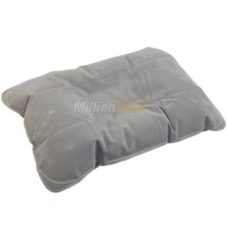 New Inflatable Travel Pillow Air Cushion Car Soft Rest Grey