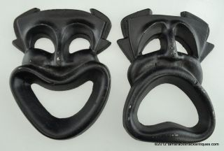 Pair of Shakespearean Comedy & Tragedy Drama Masks Black Metal Wall