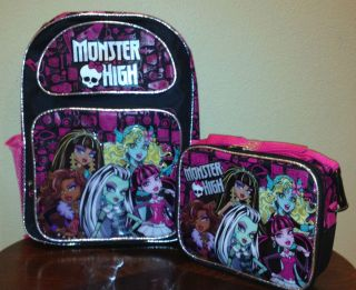 MONSTER HIGH ACCESSORIES 16 LARGE BACKPACK & LUNCH BAG 2 PIECE SET