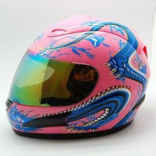 NEW Motorcycle Street Bike Adult Full Face Helmet Blue Dragon Pink