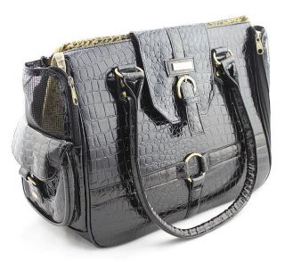 Pet Products Wholesale Dog Bags Luxury Airline Patent leather Carrier