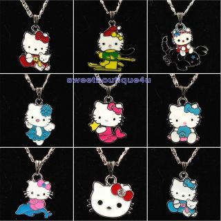 9pcs Cute hellokitty charm pendant necklace for girl kid Birthday