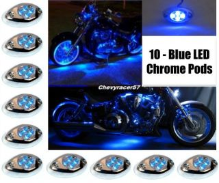 10PC BLUE LED CHROME MODULES MOTORCYCLE CHOPPER FRAME NEON GLOW LIGHTS