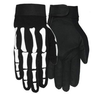 MOTORCYCLE BIKER HAND BONE SKELETON BLACK MECHANIC GLOVES XLARGE XL