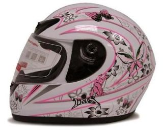 White Butterfly Motorcycle Full Face Helmet Street Bike Scooter DOT ~M
