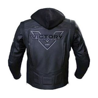 All New Mens Victory Black Motorcycle ATTITUDE Leather Jacket Zip