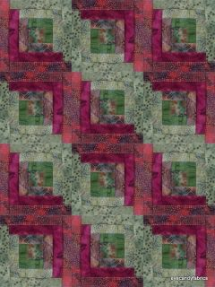 12 Block Log Cabin Kit Batik Quilt Fabric CRANBERRY LEAVES Pre cut
