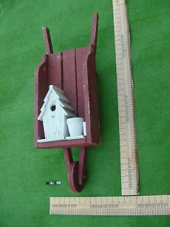 Wooden Wheelbarrow Birdhouse Planter Bird House Yardart