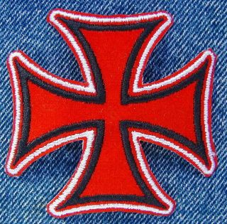RED AND BLACK IRON CROSS Biker Motorcycle Patch from DIXIEFARMER