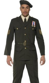 Mens Army Military Officer Uniform Beret Halloween Costume