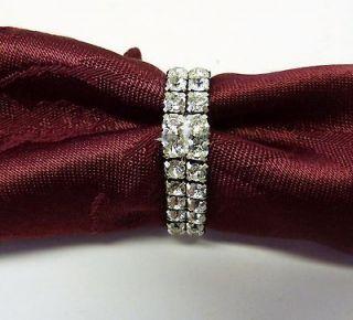 rhinestone napkin rings clear silver 1 5/8 double row