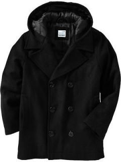 NWT Boys Old Navy Wool Blend Hooded Black Pea Coat Sz M 8