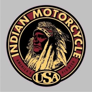 BM 12002 Indian Motorcycle Vintage Round Bumper Sticker Car Window
