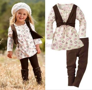 Baby Girls Kids Clothes 2 PCS Set Dress Top+Leggings Outfit Costume 1