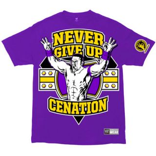 WWE JOHN CENA NEVER GIVE UP T SHIRT GREEN MENS SIZE L NWOT 100%