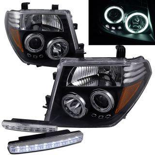 2000 2005 NISSAN FRONTIER CCFL HALO PROJECTOR HEADLIGHTS AMBER BLACK