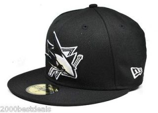 NEW ERA 59FIFTY FITTED NHL SAN JOSE SHARKS WOOL HAT CAP BLACK WHITE