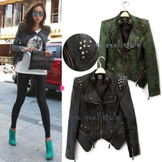 Womens Punk Retro Studded Shoulder Notched Lapel Denim Jacket Tuxedo