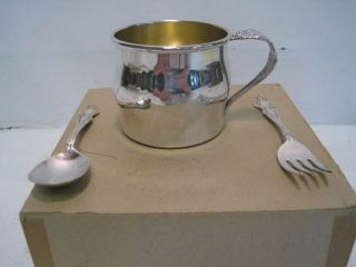 1881 Rogers by Oneida Silverplated Baby Set Cup Spoon Fork in Box SL1